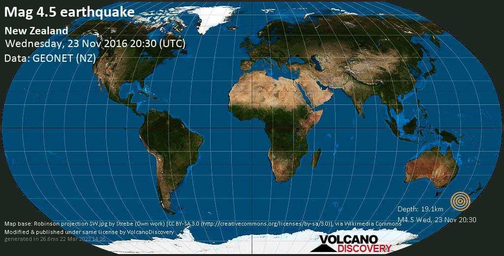 Light mag. 4.5 earthquake  - New Zealand on Wednesday, 23 November 2016