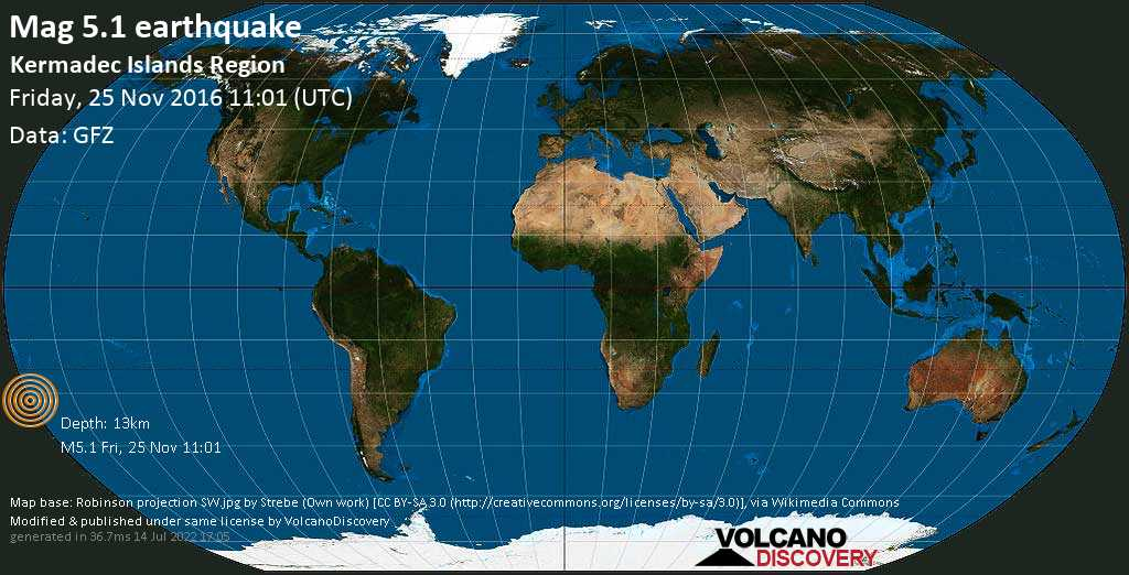 Moderate mag. 5.1 earthquake  - Kermadec Islands Region on Friday, 25 November 2016
