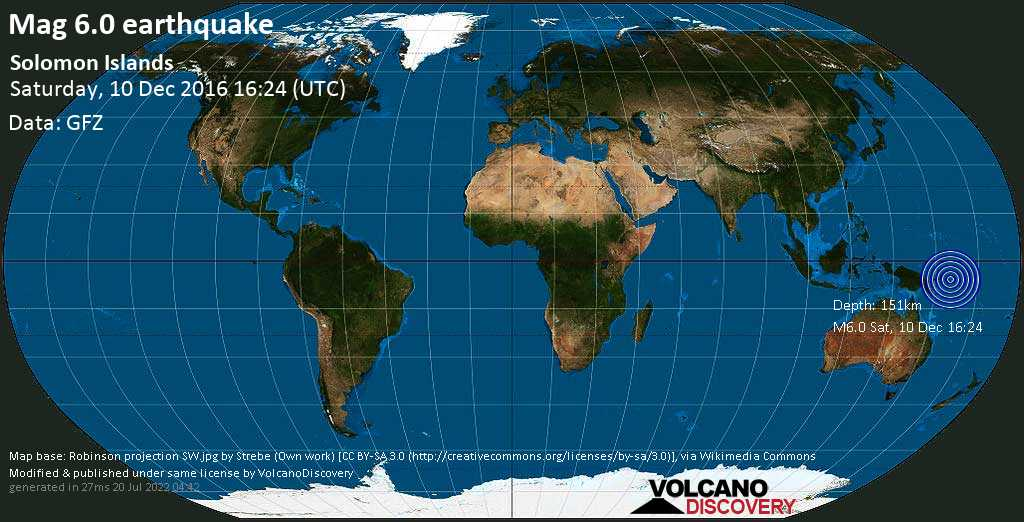 Strong mag. 6.0 earthquake  - Solomon Islands on Saturday, 10 December 2016