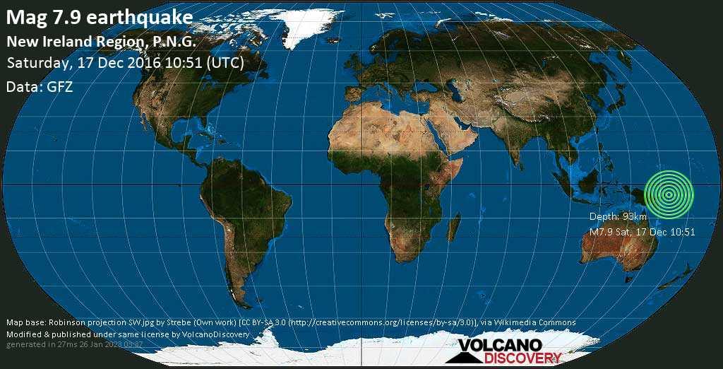 Major mag. 7.9 earthquake  - New Ireland Region, P.N.G. on Saturday, 17 December 2016