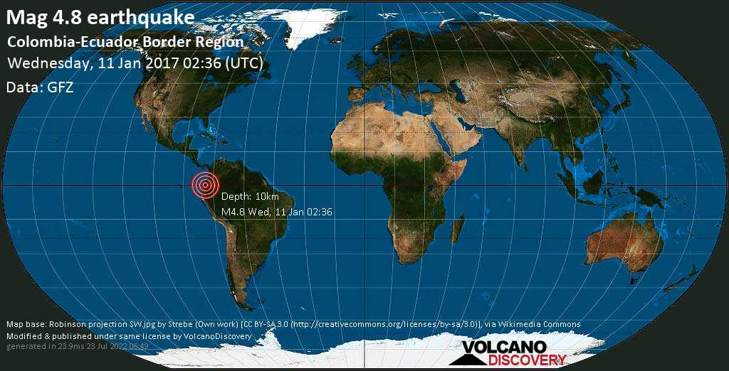 Light mag. 4.8 earthquake  - Colombia-Ecuador Border Region on Wednesday, 11 January 2017