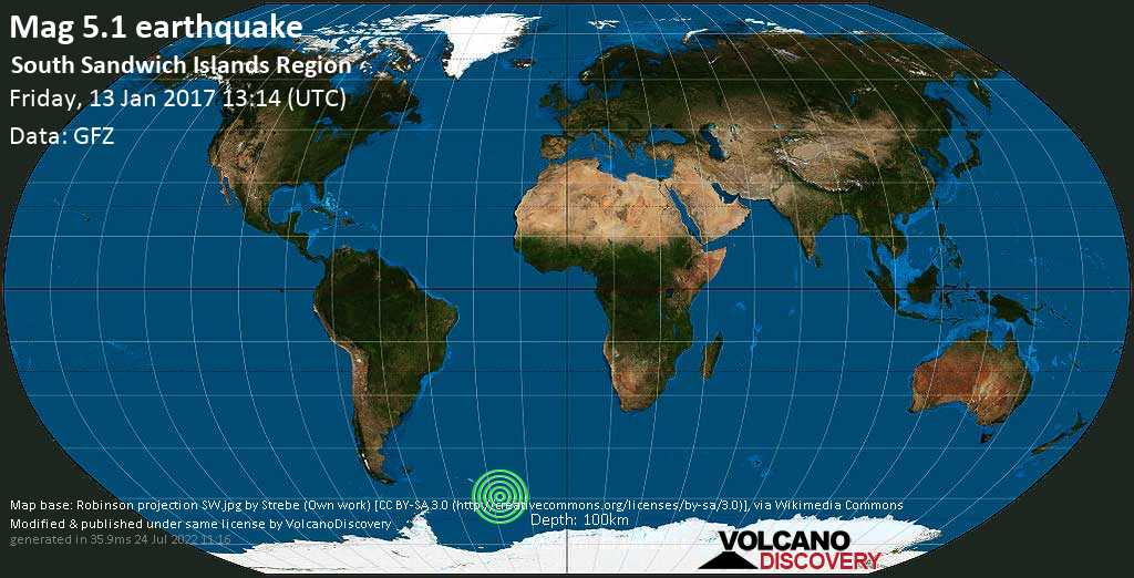 Moderate mag. 5.1 earthquake  - South Sandwich Islands Region on Friday, 13 January 2017