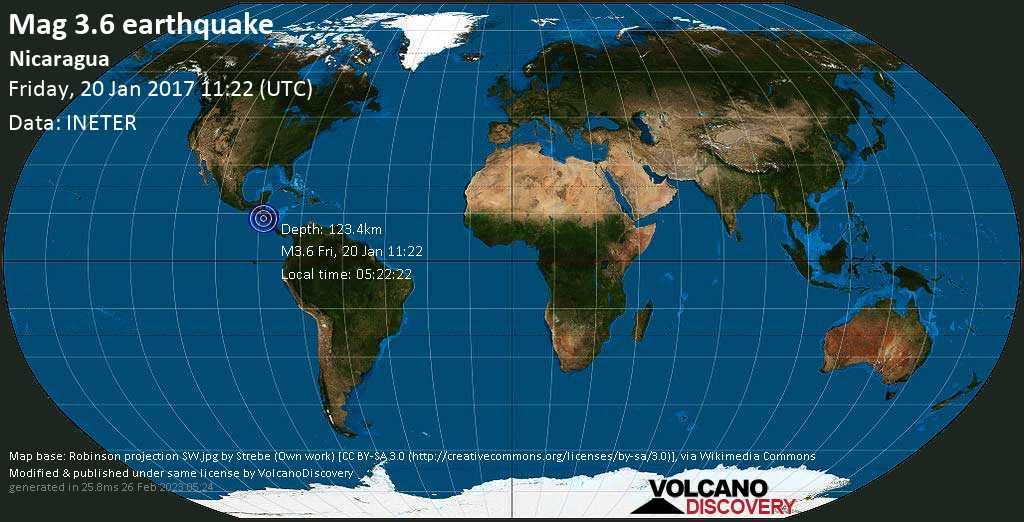 Minor mag. 3.6 earthquake  - Nicaragua on Friday, 20 January 2017