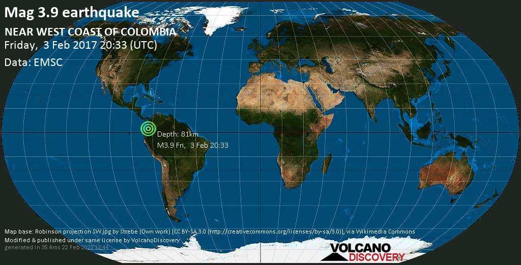 Minor mag. 3.9 earthquake  - NEAR WEST COAST OF COLOMBIA on Friday, 3 February 2017