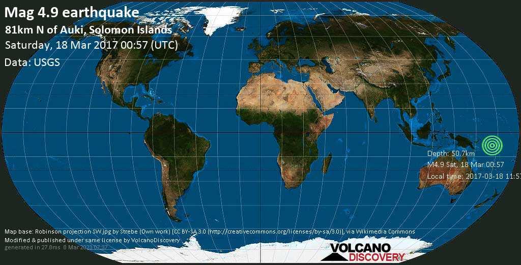 Light mag. 4.9 earthquake  - 81km N of Auki, Solomon Islands on Saturday, 18 March 2017