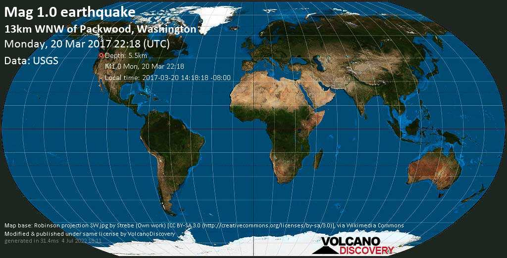 Minor mag. 1.0 earthquake  - 13km WNW of Packwood, Washington on Monday, 20 March 2017