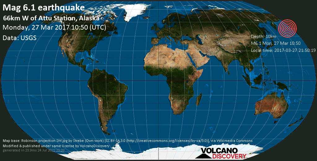 Strong mag. 6.1 earthquake  - 66km W of Attu Station, Alaska on Monday, 27 March 2017