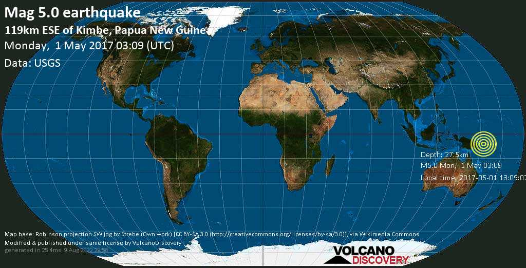 Moderate mag. 5.0 earthquake  - 119km ESE of Kimbe, Papua New Guinea on Monday, 1 May 2017