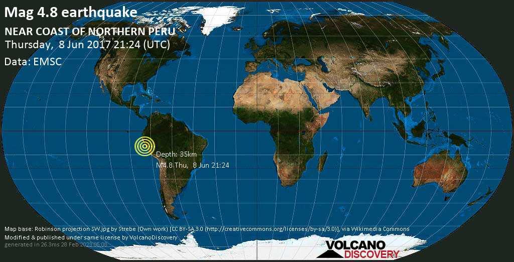 Light mag. 4.8 earthquake  - NEAR COAST OF NORTHERN PERU on Thursday, 8 June 2017
