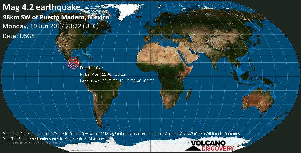 Light mag. 4.2 earthquake  - 98km SW of Puerto Madero, Mexico on Monday, 19 June 2017