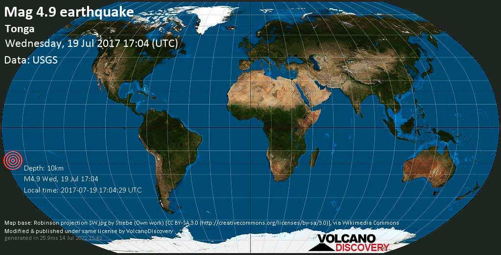 Light mag. 4.9 earthquake  - Tonga on Wednesday, 19 July 2017
