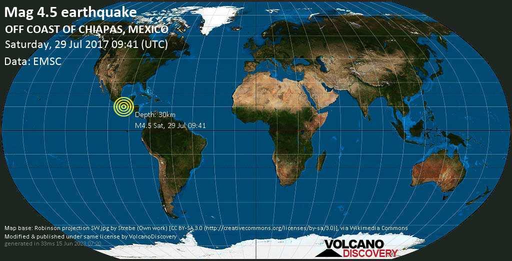 Light mag. 4.5 earthquake  - OFF COAST OF CHIAPAS, MEXICO on Saturday, 29 July 2017