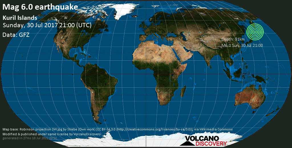 Strong mag. 6.0 earthquake  - Kuril Islands on Sunday, 30 July 2017
