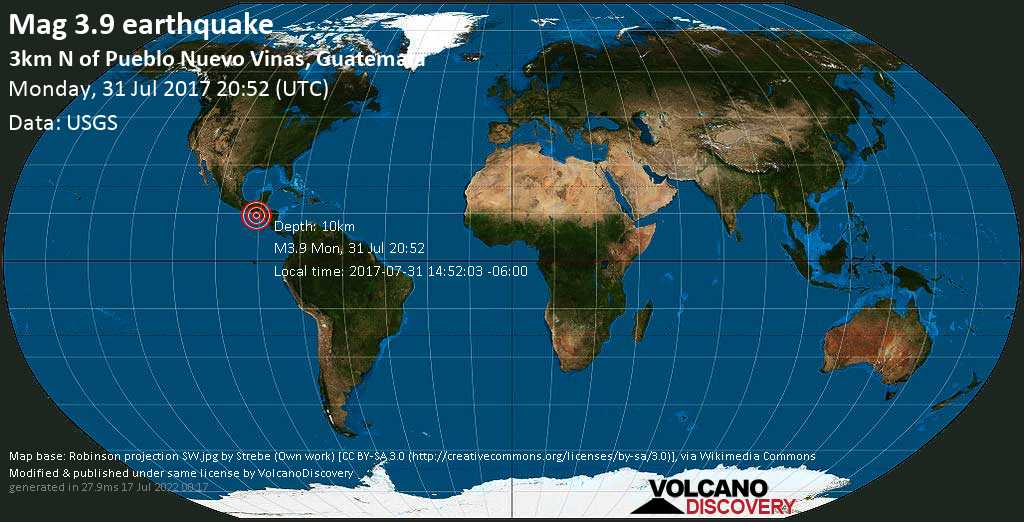 Minor mag. 3.9 earthquake  - 3km N of Pueblo Nuevo Vinas, Guatemala on Monday, 31 July 2017