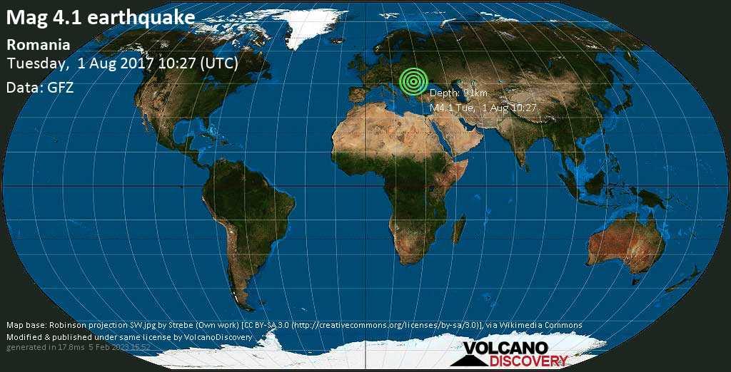 Light mag. 4.1 earthquake  - Romania on Tuesday, 1 August 2017