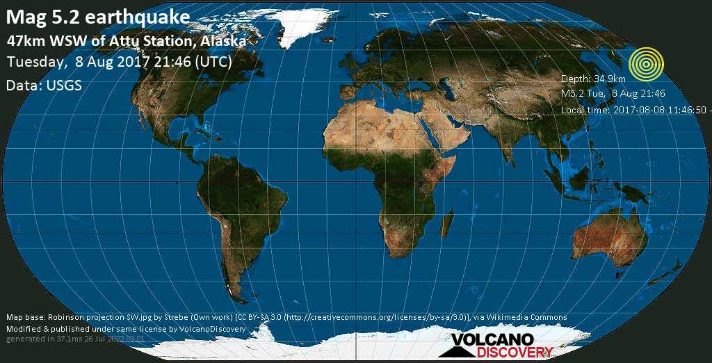 Moderate mag. 5.2 earthquake  - 47km WSW of Attu Station, Alaska on Tuesday, 8 August 2017
