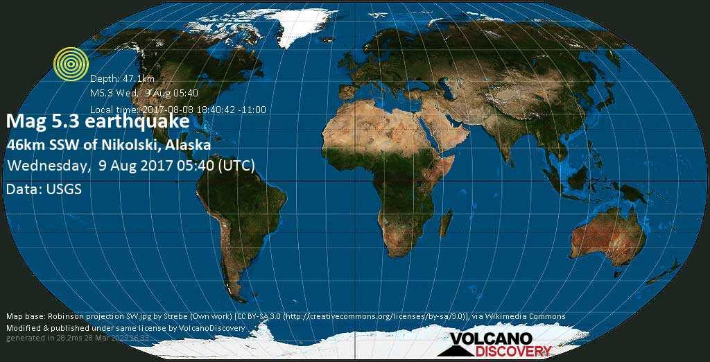 Moderate mag. 5.3 earthquake  - 46km SSW of Nikolski, Alaska on Wednesday, 9 August 2017