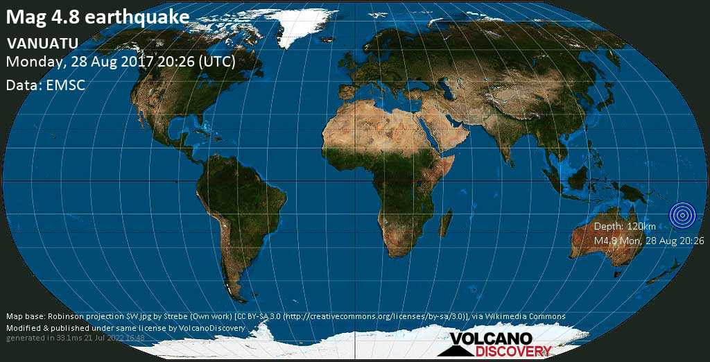 Light mag. 4.8 earthquake  - VANUATU on Monday, 28 August 2017