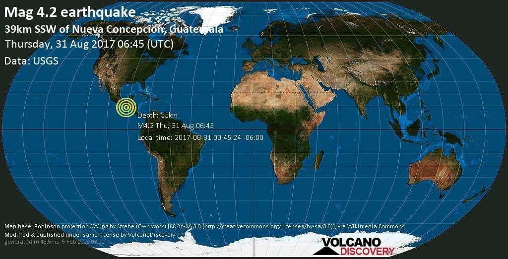 Light mag. 4.2 earthquake  - 39km SSW of Nueva Concepcion, Guatemala on Thursday, 31 August 2017