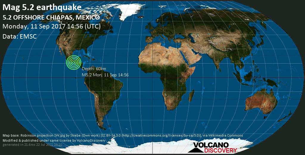 Moderate mag. 5.2 earthquake  - 5.2  OFFSHORE CHIAPAS, MEXICO on Monday, 11 September 2017