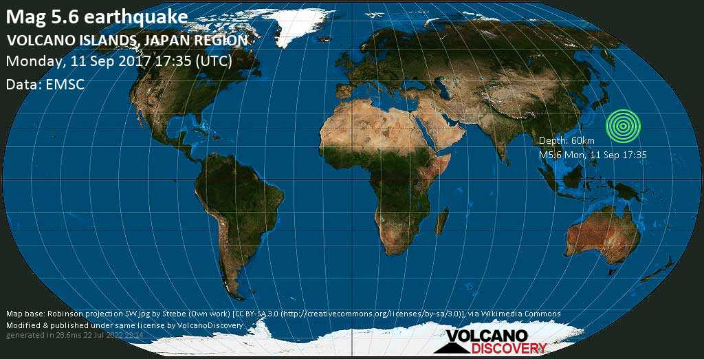 Moderate mag. 5.6 earthquake  - VOLCANO ISLANDS, JAPAN REGION on Monday, 11 September 2017