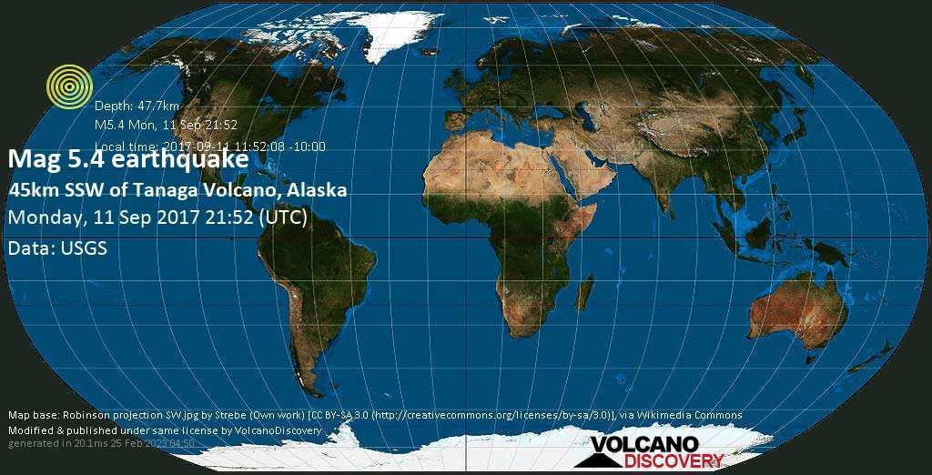Moderate mag. 5.4 earthquake  - 45km SSW of Tanaga Volcano, Alaska on Monday, 11 September 2017