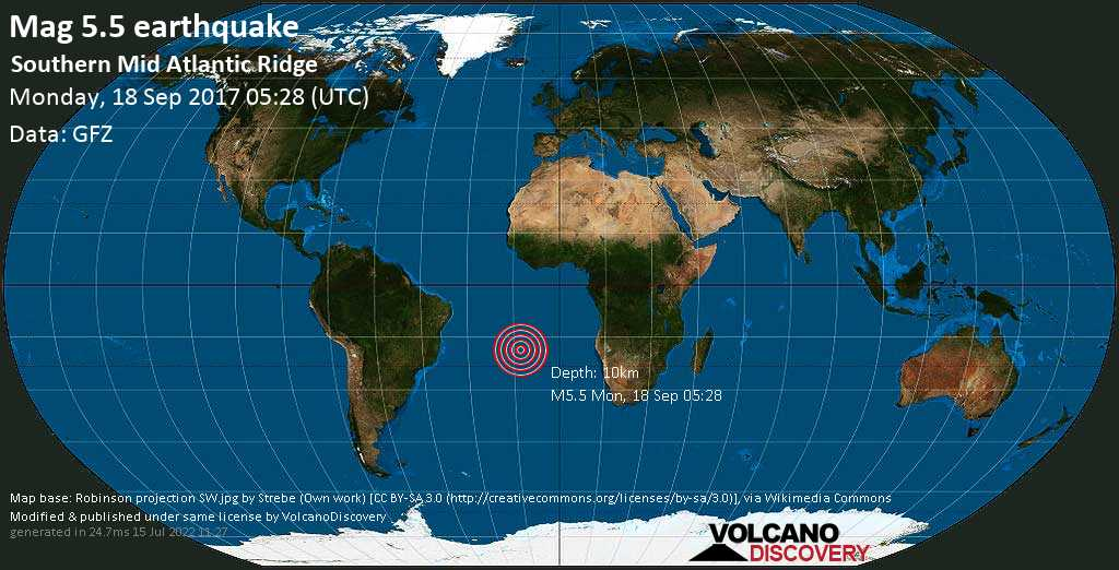 Moderate mag. 5.5 earthquake  - Southern Mid Atlantic Ridge on Monday, 18 September 2017