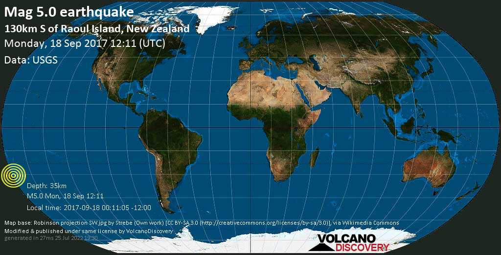 Moderate mag. 5.0 earthquake  - 130km S of Raoul Island, New Zealand on Monday, 18 September 2017