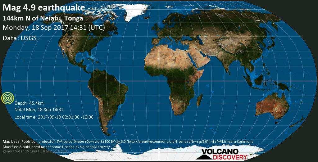 Light mag. 4.9 earthquake  - 144km N of Neiafu, Tonga on Monday, 18 September 2017