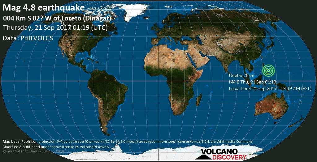 Light mag. 4.8 earthquake  - 004 km S 02? W of Loreto (Dinagat) on Thursday, 21 September 2017