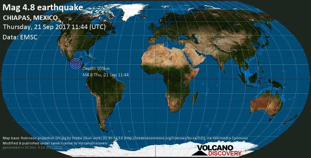 Light mag. 4.8 earthquake  - CHIAPAS, MEXICO on Thursday, 21 September 2017