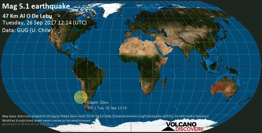 Moderate mag. 5.1 earthquake  - 47 km al O de Lebu on Tuesday, 26 September 2017