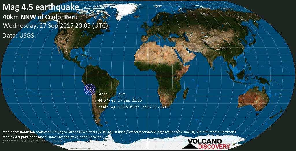 Light mag. 4.5 earthquake  - 40km NNW of Ccolo, Peru on Wednesday, 27 September 2017