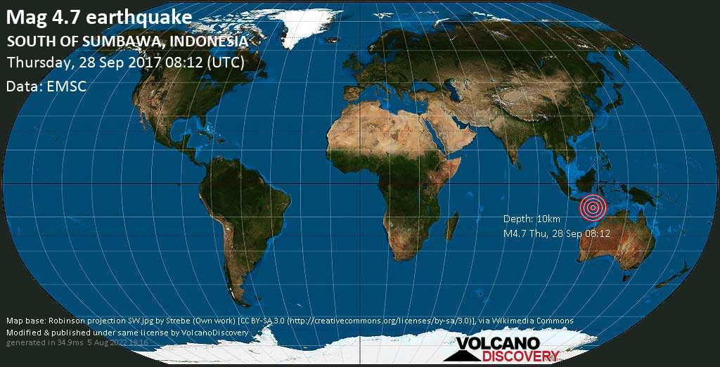 Light mag. 4.7 earthquake  - SOUTH OF SUMBAWA, INDONESIA on Thursday, 28 September 2017