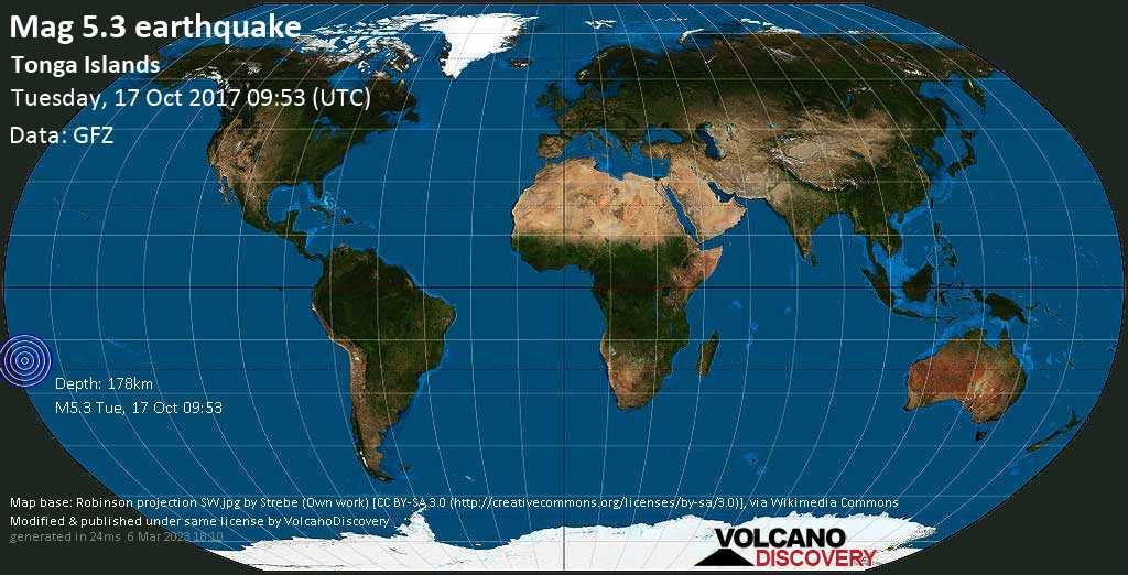 Moderate mag. 5.3 earthquake  - Tonga Islands on Tuesday, 17 October 2017