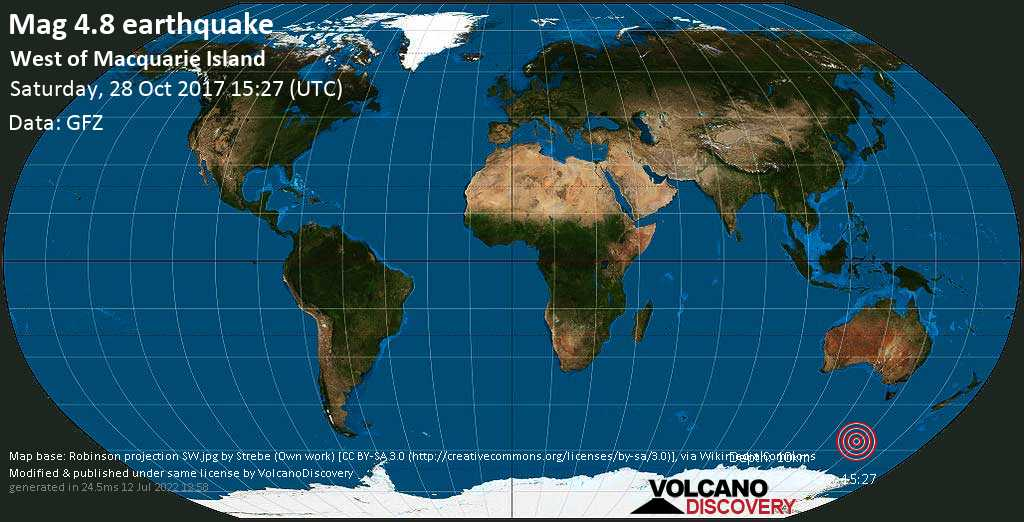 Light mag. 4.8 earthquake  - West of Macquarie Island on Saturday, 28 October 2017