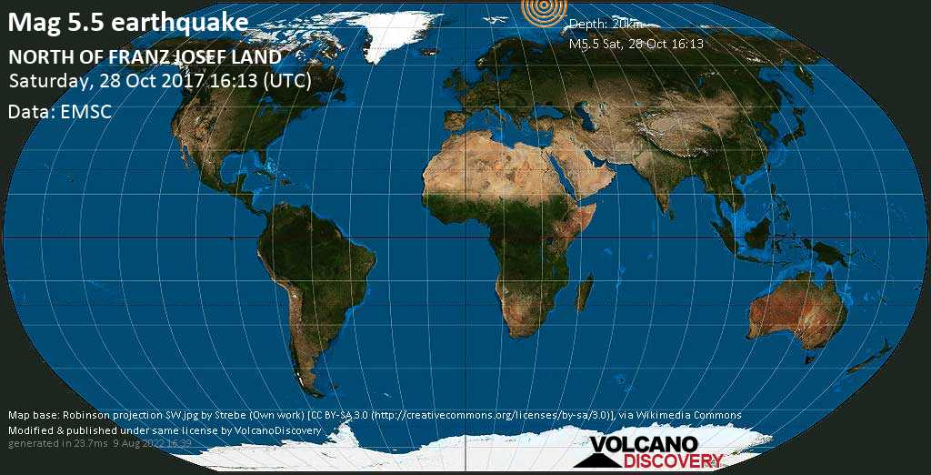 Moderate mag. 5.5 earthquake  - NORTH OF FRANZ JOSEF LAND on Saturday, 28 October 2017