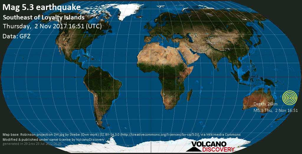 Moderate mag. 5.3 earthquake  - Southeast of Loyalty Islands on Thursday, 2 November 2017