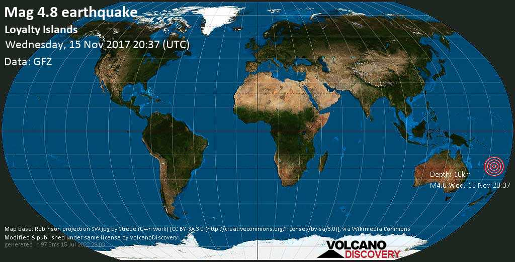 Light mag. 4.8 earthquake  - Loyalty Islands on Wednesday, 15 November 2017