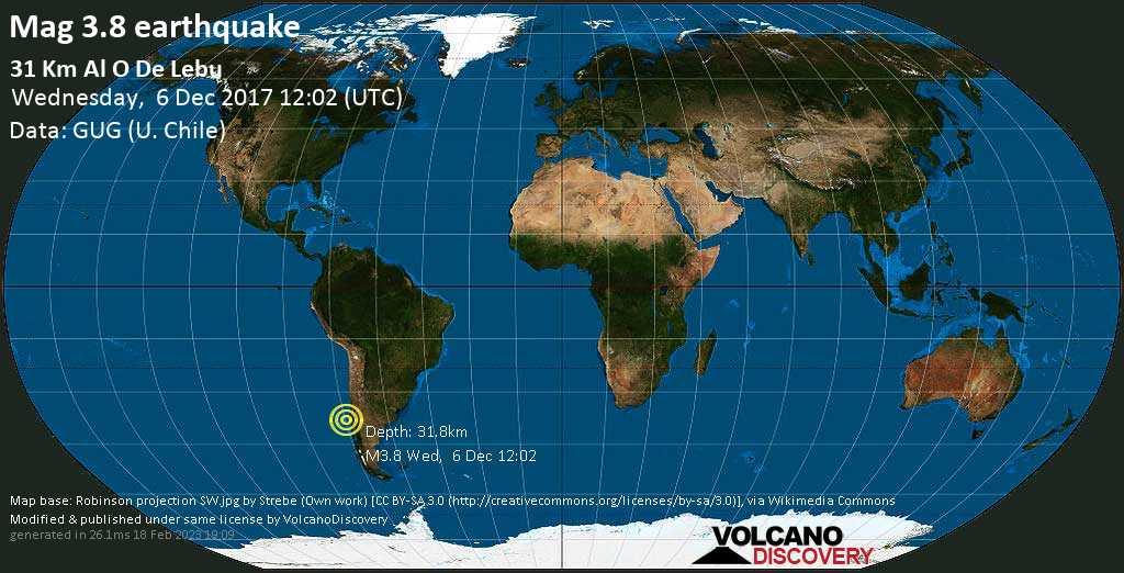 Minor mag. 3.8 earthquake  - 31 km al O de Lebu on Wednesday, 6 December 2017