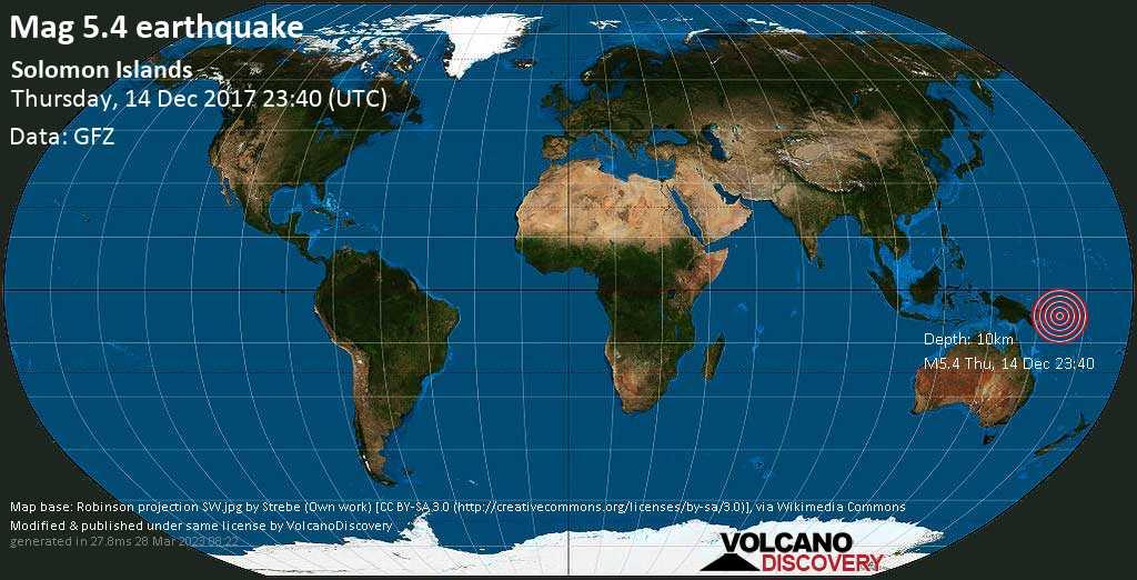 Moderate mag. 5.4 earthquake  - Solomon Islands on Thursday, 14 December 2017