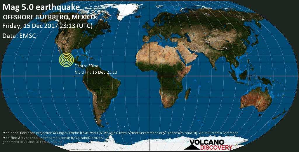 Moderates Erdbeben der Stärke 5.0 - OFFSHORE GUERRERO, MEXICO am Freitag, 15. Dez. 2017
