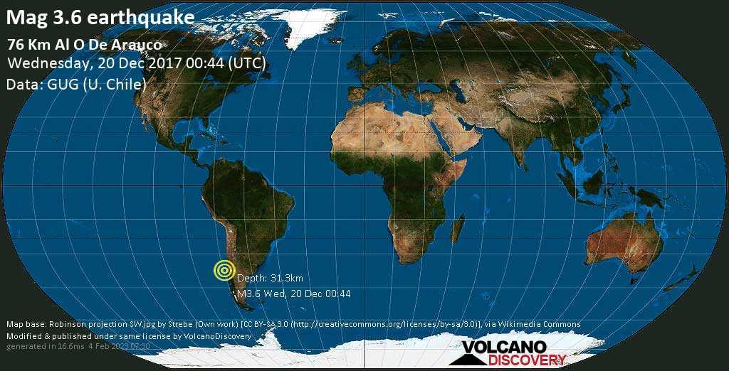 Minor mag. 3.6 earthquake  - 76 km al O de Arauco on Wednesday, 20 December 2017