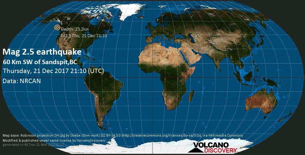 Minor mag. 2.5 earthquake  - 60 km SW  of Sandspit,BC on Thursday, 21 December 2017