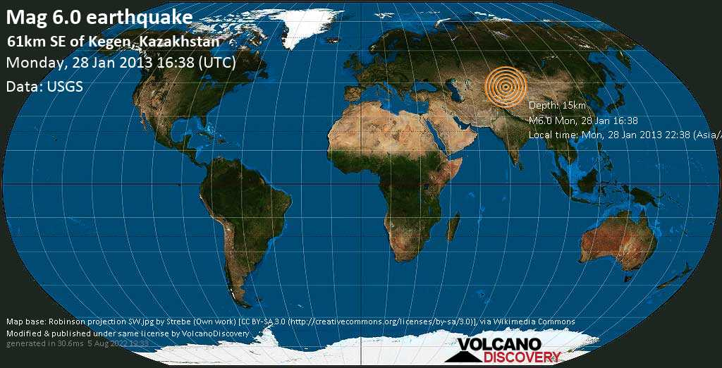Strong mag. 6.0 earthquake  - 61km SE of Kegen, Kazakhstan on Monday, 28 January 2013