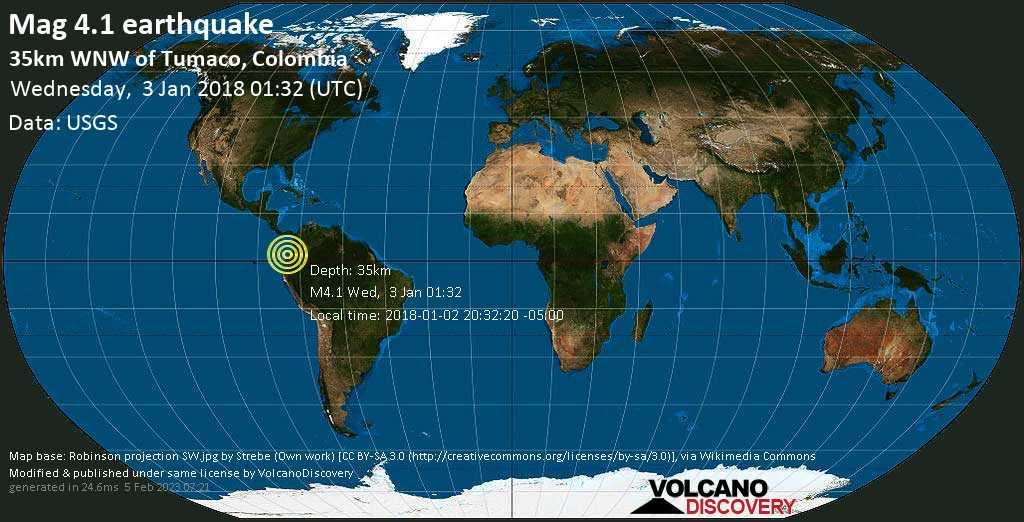 Light mag. 4.1 earthquake  - 35km WNW of Tumaco, Colombia on Wednesday, 3 January 2018