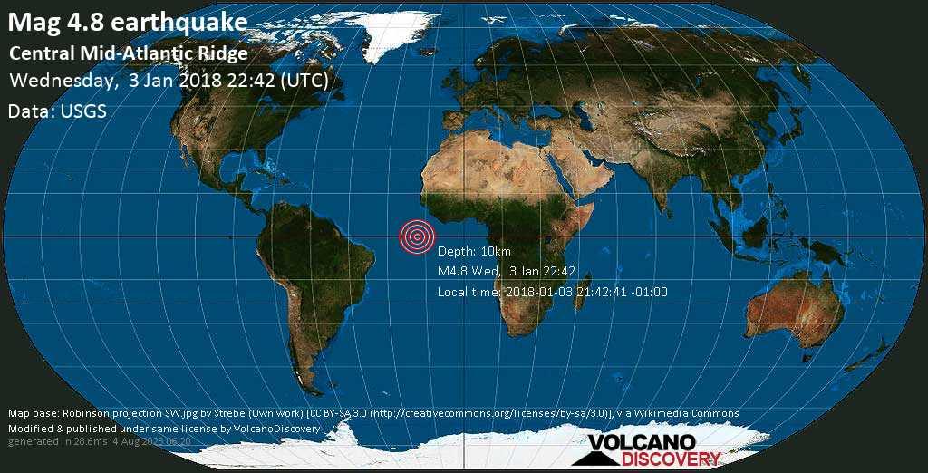 Light mag. 4.8 earthquake  - Central Mid-Atlantic Ridge on Wednesday, 3 January 2018