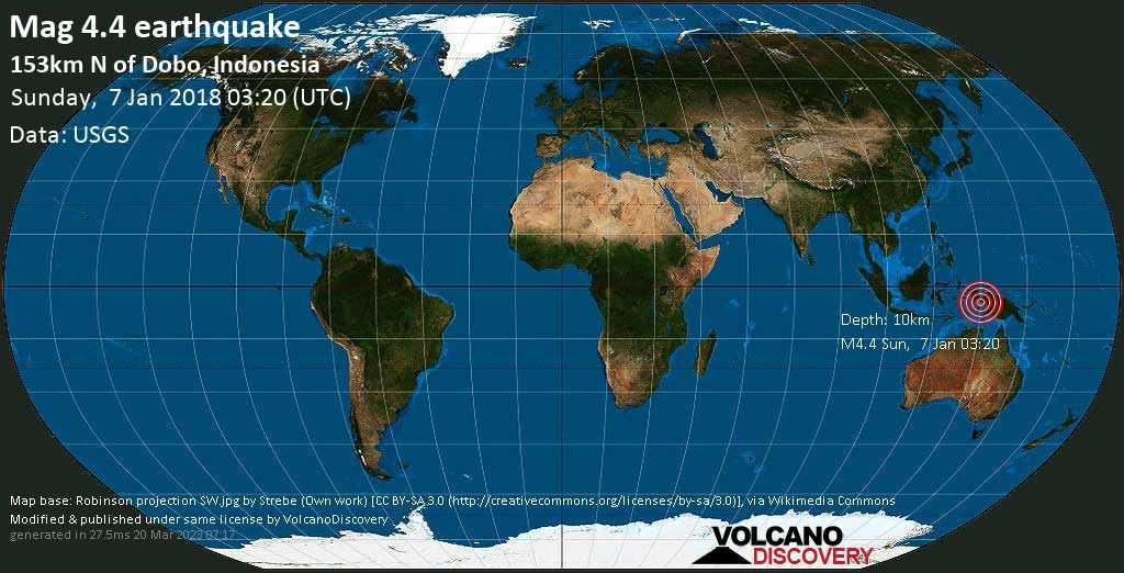 Light mag. 4.4 earthquake  - 153km N of Dobo, Indonesia on Sunday, 7 January 2018