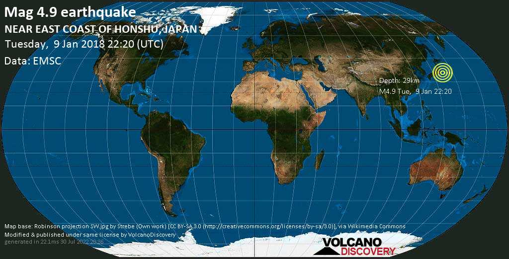 Light mag. 4.9 earthquake  - NEAR EAST COAST OF HONSHU, JAPAN on Tuesday, 9 January 2018