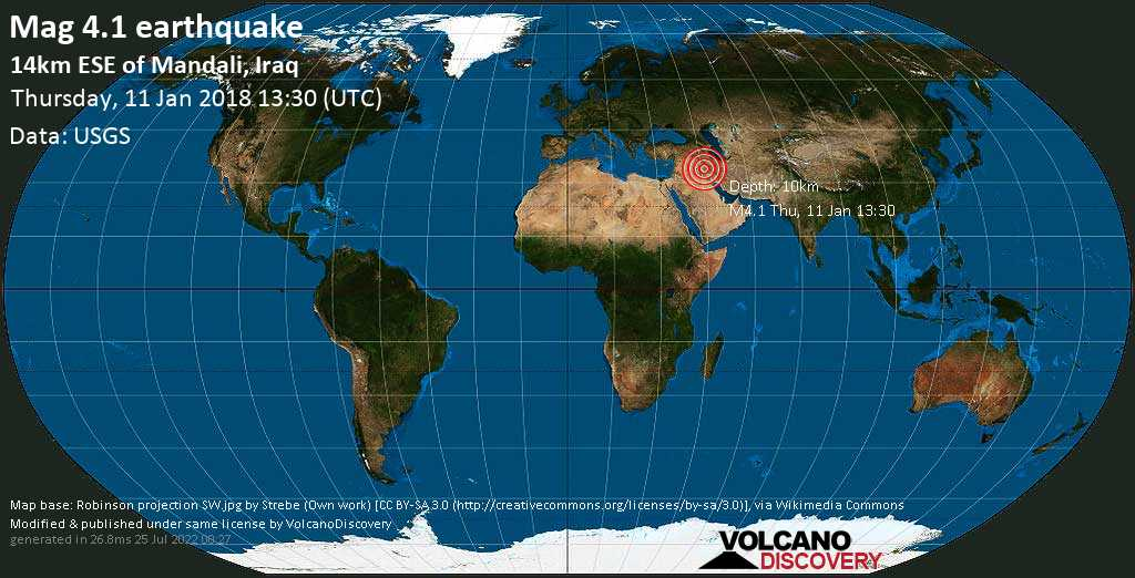 Light mag. 4.1 earthquake  - 14km ESE of Mandali, Iraq on Thursday, 11 January 2018